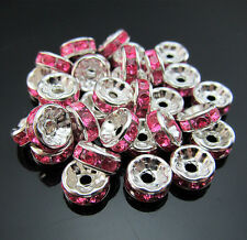 FREE LOT 100PCS Jewelry Making Material Rondelle Spacer Beads Pink/ Crystal 8mm