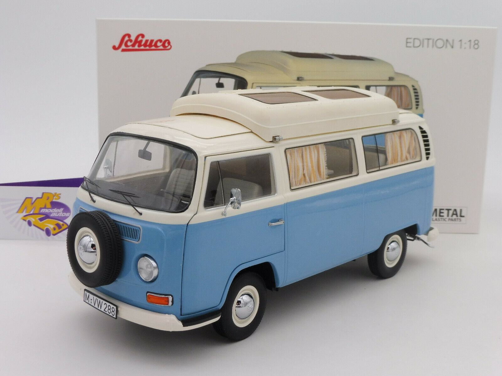Schuco 00435   VW bus T2a Campingbus Baujahr 1970 in   neptunblau-weiß   1 18