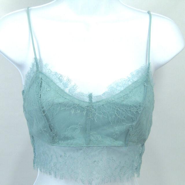 c6d877f6bcdd0 NWT Topshop Women s Eyelash Lace zip back bralette cropped top US 6 Light  Green