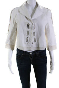 shops online Victor Alfaro Womens Laced Cropped Jacket White ...