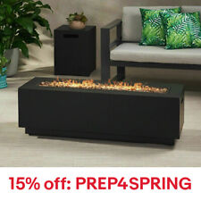 Jasmine Outdoor Dark Gray Iron Rectangular Propane Fire Pit - 50,000 BTU