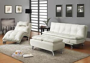 Image Is Loading Stylish White Leather Like Sofa Chaise Amp Ottoman