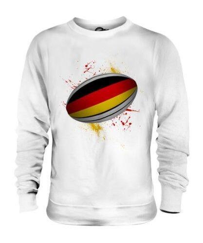 Alemania Pelota de Rugby Salpicadura Unisex Suéter Regalo Top Copa Del Mundo