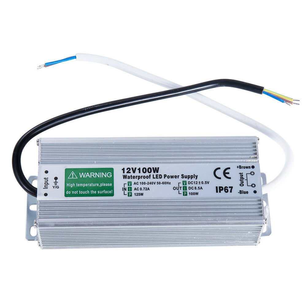 LED Driver 300 Watts waterproof IP67 Power Supply Transformer Adapter 100V-260V AC to 12V DC Low Voltage Output with 3-Prong Plug 3.3 Feet Cable
