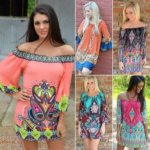 Women-039-s-Boho-Mini-Dress-Tops-Ladies-Summer-Beach-Off-Shoulder-Floral-Sundress-AU