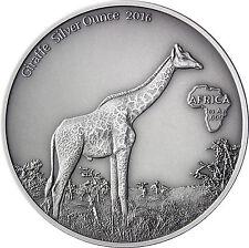 Afrika Serie: Gabun 1000 Francs CFA 2016 Antique Finish Giraffe Silver Ounce