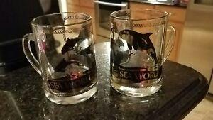 Vintage Sea World Glass Mug Stein Beer  Souvenir Shamu Dolphins Gold Foil 1980s