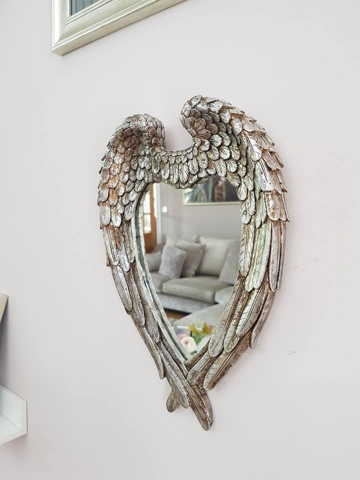 Antique Silver Angel Wings Mirror Shabby Chic Heart Bedroom Hallway Bathroom 365