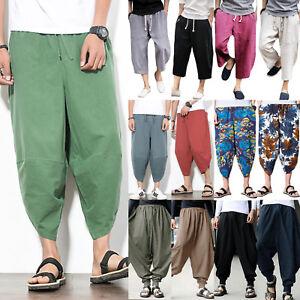 UK Men Baggy Loose Cotton Harem Trousers Yoga Pants Hippie Aladdin Ali Baba Yoga