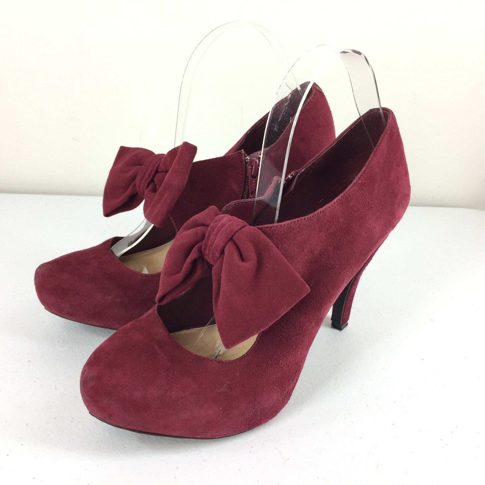 Gianni Bini 9 M Red Suede Leather Platform Mary jane High Heels EUC bow