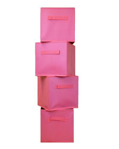 4 pliage boîtes de rangement en Toile Rose Filles Nurserie Enfants Home Toys