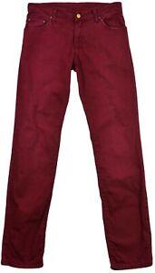 Carhartt-Femmes-Pantalon-Jeans-Bootcut-Bordeaux-Bouton-Poche-Fermeture-Original