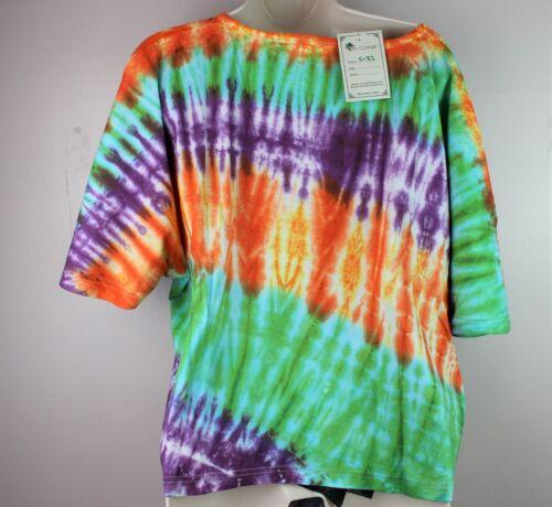 Tie Dye Handmade Retro T-Shirt Bat Shirt Top Festival Print Kimono Hippie S32