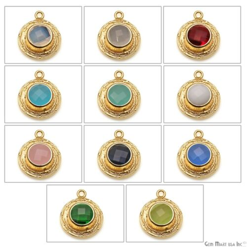 Gold Plated Pendant Round Gemstone Setting DIY Pendant Connector Single Bail