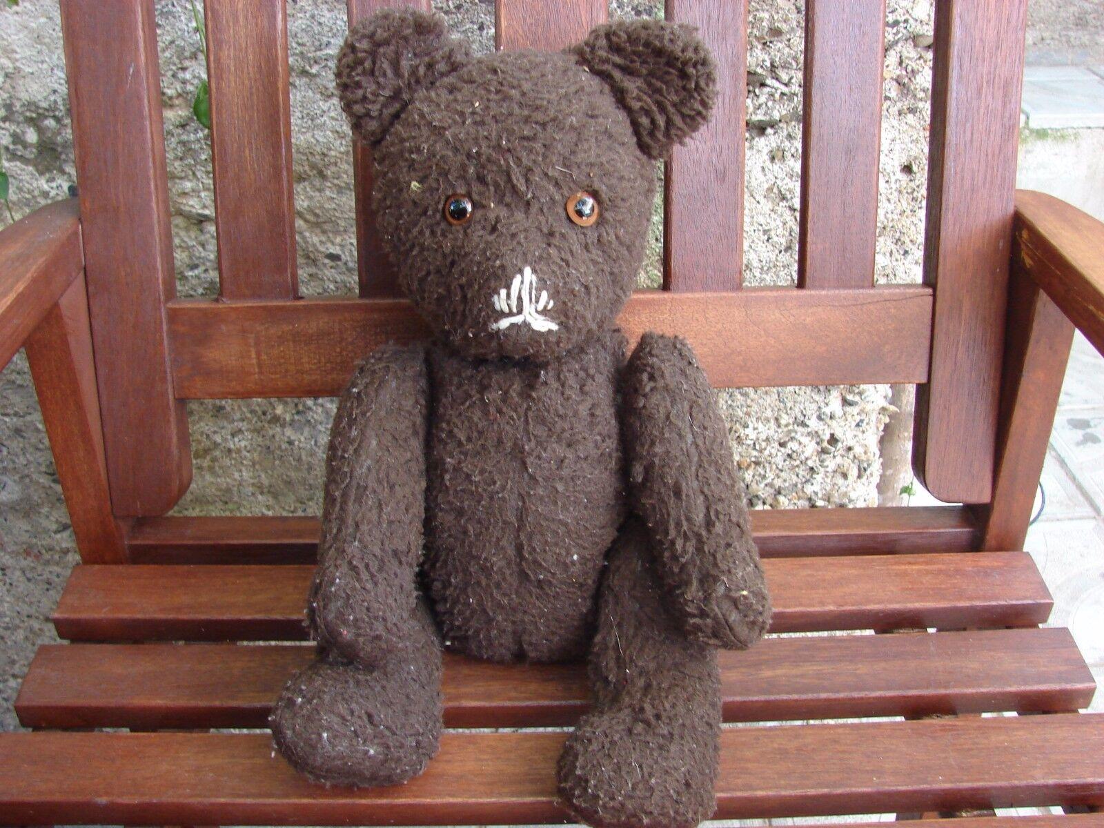 Vintage teddy bear scarce plush straw with glass eyes   movable limbs