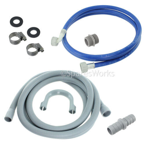 Fill Water Pipe /& Outlet Drain Hose For AEG Washing Machine Kit
