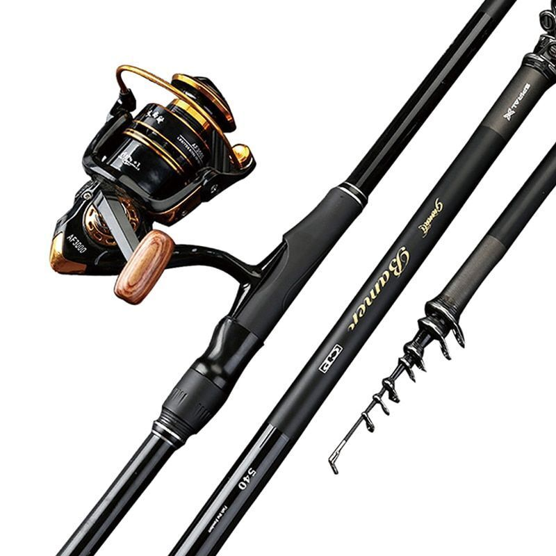 Carbon Portable Telescopic 3.6m-7.2m Fishing Rod Superhard Long-Sea Dual-use
