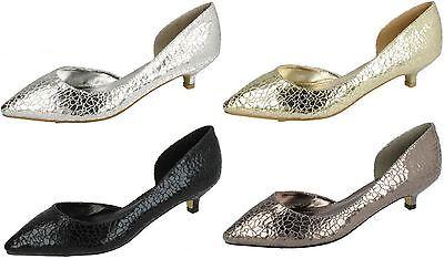 Damas Savannah Oro/Estaño Resbalón en Zapatos De Tacón Gatito tamaños UK 4 - 7 F9784
