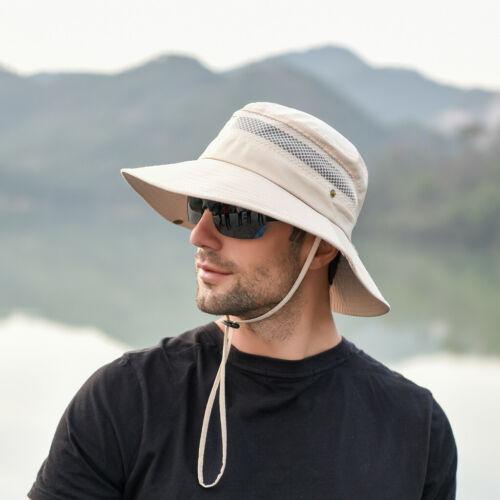 Men Summer Outdoor Sun Hat Protection Bucket Mesh Beanie Hats Hiking Fishing Cap