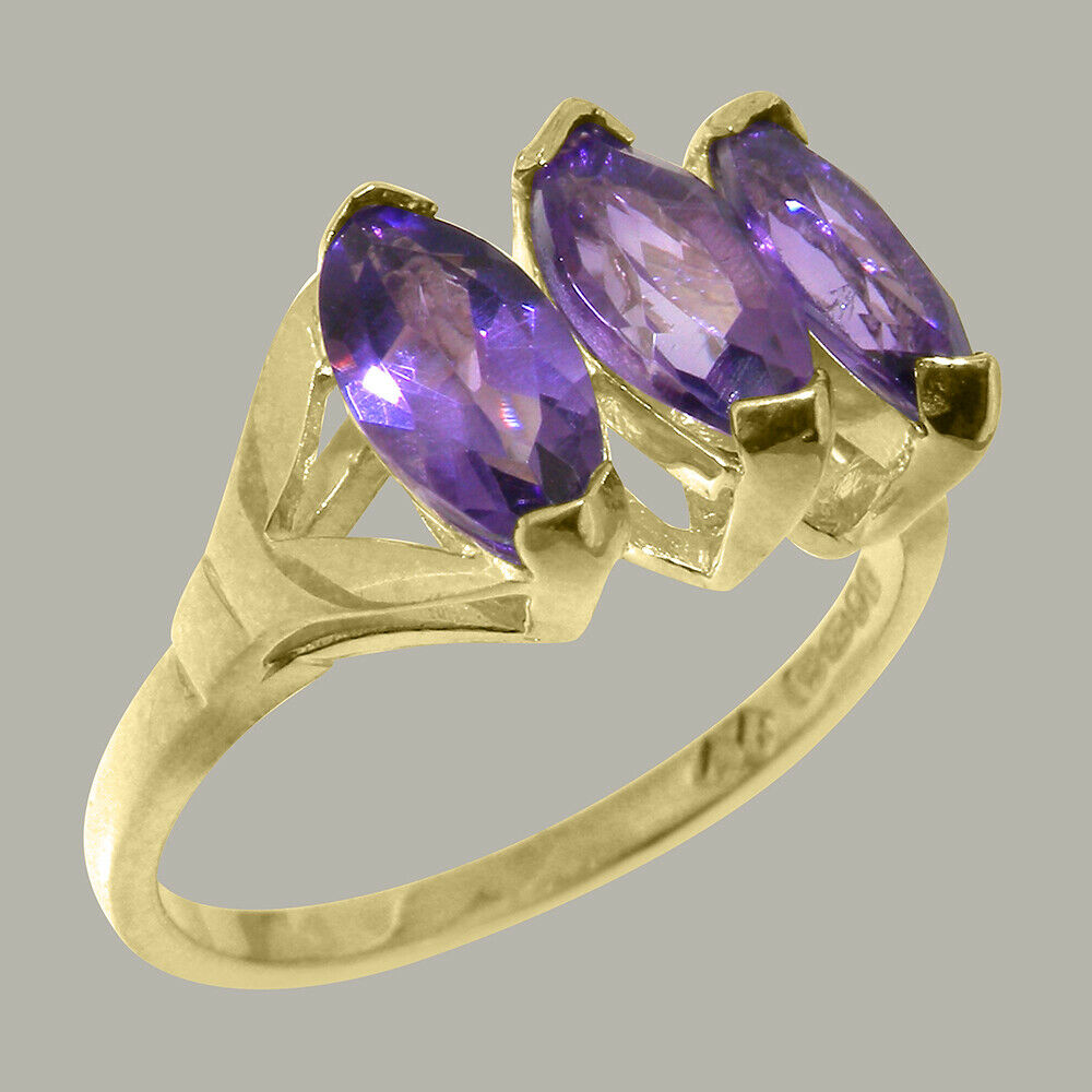 Solid 18k Yellow gold Natural Amethyst Womens Trilogy Ring - Sizes 4 to 12