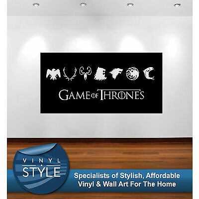 GAME OF THRONES LOGOS DECOR DECAL WALL ART GRAPHIC VARIOUS COLOURS