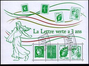 Bloc-feuillet-F4908-La-Lettre-Verte-a-3-ans-de-2014-oblitere-1er-jour-LUXE