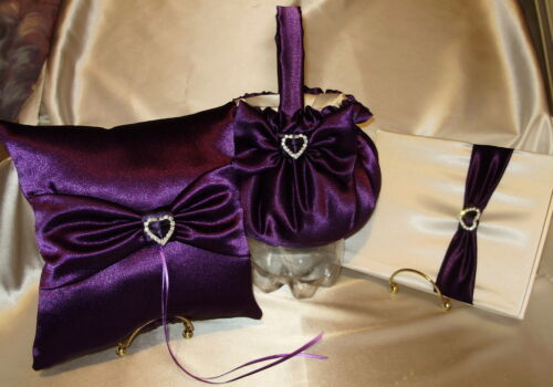 guest book GORGEOUS  BRIDAL SET Ring Pillow,Flower Girl  Basket