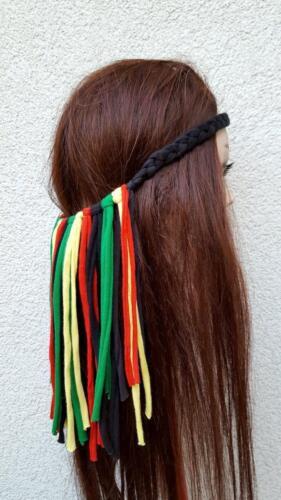 Rasta Headband Reggae Dreadlock Rastafarian Head Wrap Jamaican Tassel Necklace