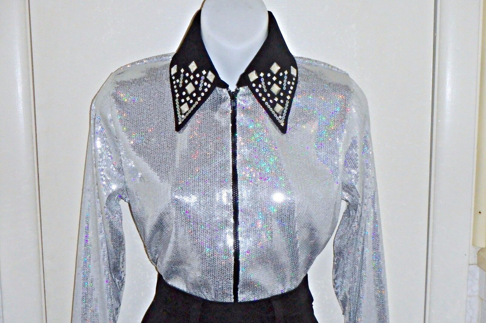 Mujeres Plata Lentejuelas carril occidental, placer, Rodeo, Trail, Queen & Glamour Camisa