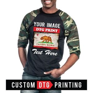 Custom printed personalized shaka camo raglan baseball t for Custom raglan baseball shirt