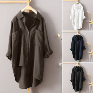 UK-Womens-Button-Oversize-Shirt-Dress-Long-Sleeve-Cotton-Baggy-Blouse-Plus-Size