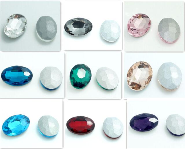 10pcs oval Crystal rhinestones Silver  beads 13*18MM Multicolor