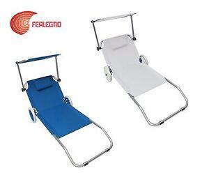 Lettino Sdraio In Alluminio.Lettino Sdraio In Alluminio Trasportabile Con Ruote 150x52x62cm Mare