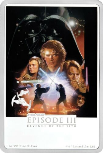 1 OZ SILVER 2018 STAR WARS Revenge of The Sith 6th coin