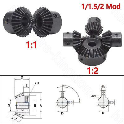 2Pcs Set Metal Bevel Gear 1.5 Mod 1:2 90 Degree Pairing Bore 6//8mm 15T//30T