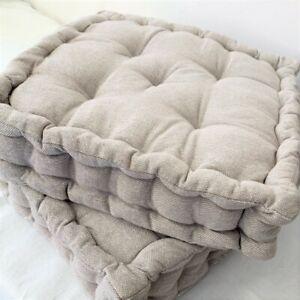 Beige Nude Plain Linen Floor Cushion Luxury Cotton Large Chair Garden Seat Pad