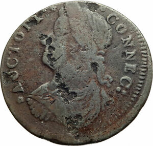 1787-US-post-Colonial-PRE-FEDERAL-Connecticut-RARE-Halfpence-Antique-Coin-i77052