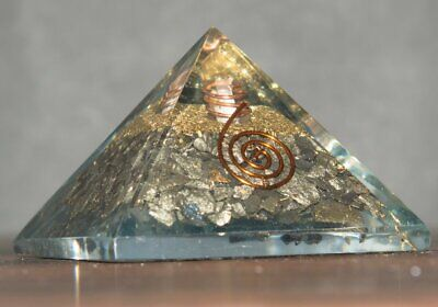 Golden Pyrite Gemstone Orgone Pyramid Energy Generator Chakra Balancing