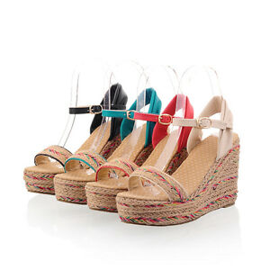 Ladies-Shoes-Platform-Straw-Weaved-Wedge-High-Heels-Strappy-Sandals-AU-Size-S398