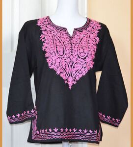 Pink-Embroidered-Cotton-Tunic-Top-Kurti-Blouse-in-Black-Color-from-India