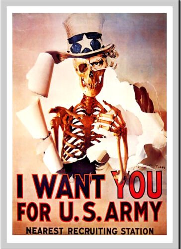 A3 Size Poster Print Art Deco I Want You For The US Army Anti War #16
