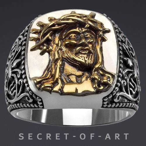 Gesù Cristo Cristo Cristo Ecce Homo Anello argentoo 925 Sterling oro-placcati f699f5