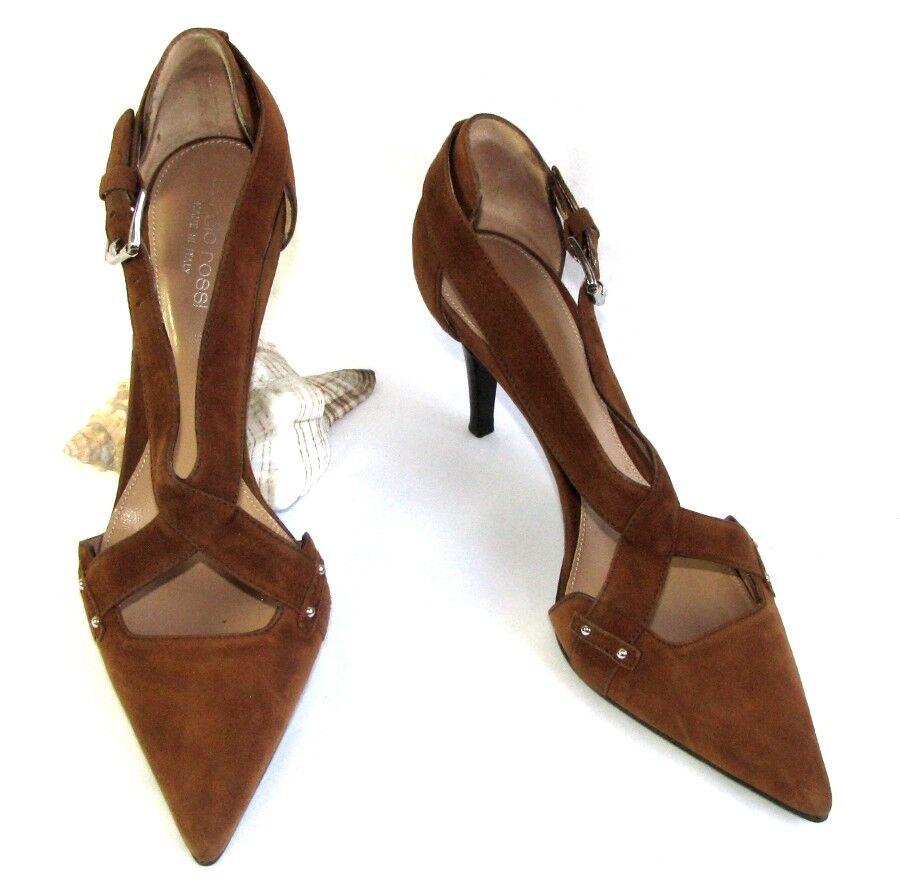 SERGIO ROSSI Scarpe tacco 7.5 marrone cm in pelle velour marrone 7.5 37.5 OTTIME CONDIZIONI ab5d81