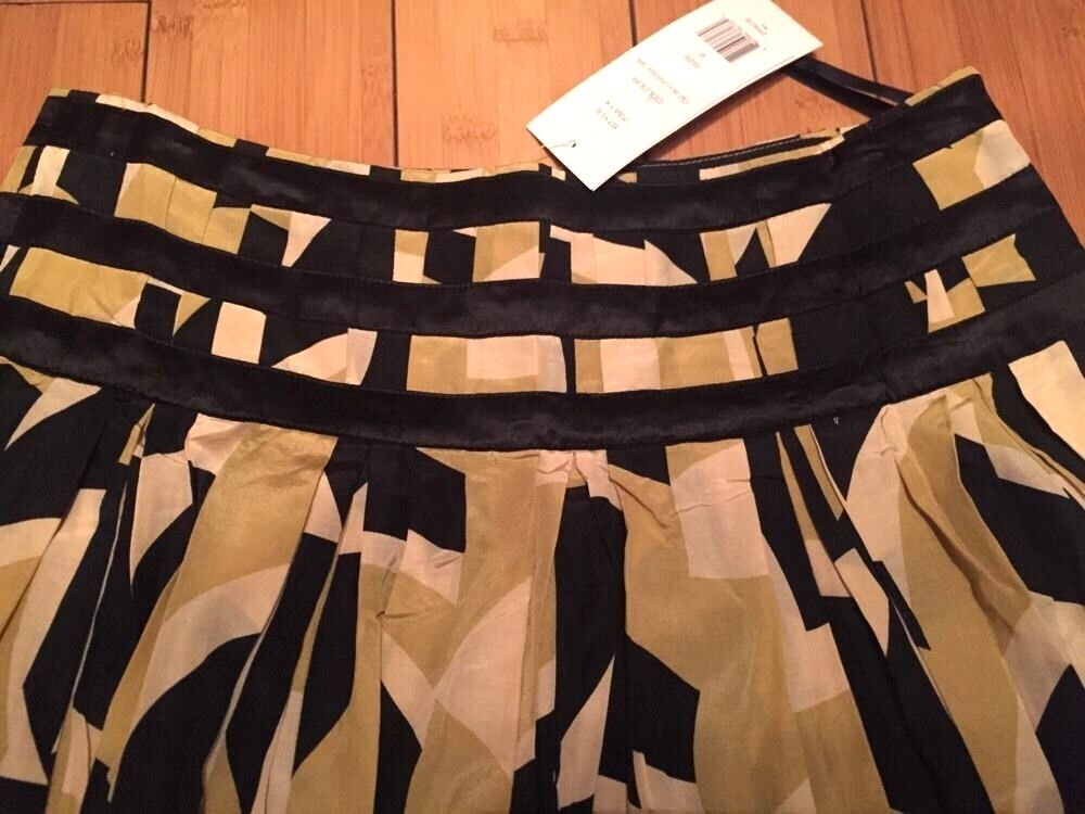 NEW FRENCH CONNECTION Knee Length Abstract Geometric SILK Skirt Women 2 xs Small
