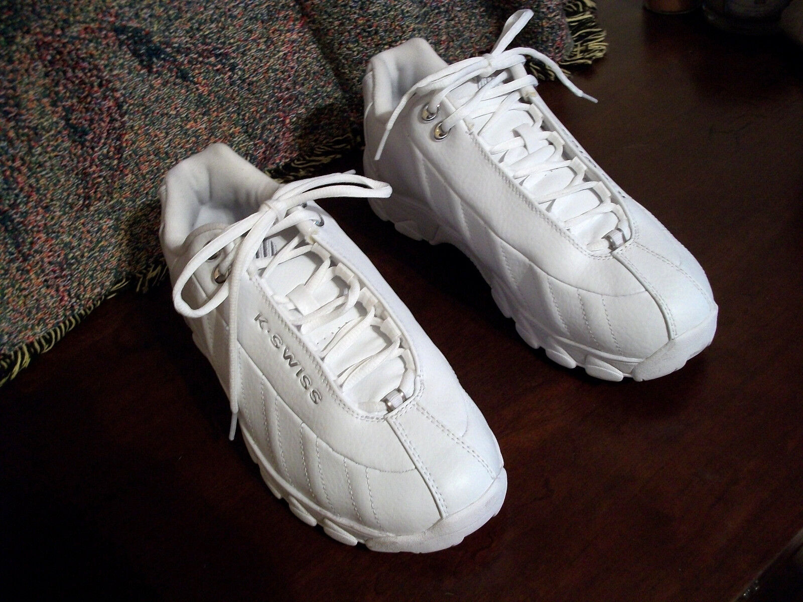 K SWISS blancoo MEMORY FOAM Cuero de Resorte de choque SS Zapatos Atléticos 8.5  Excelente