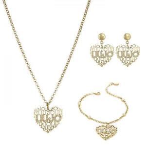 Gioielli-LIU-JO-Luxury-TRAMA-Collana-o-Orecchini-o-Bracciale-Gold-Dorato-Cuore