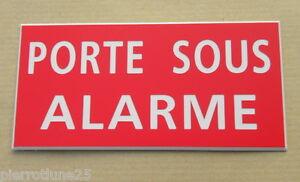 """Plaque Gravée Signaletique """"porte Sous Alarme"""" Pt Format Bas Prix"""