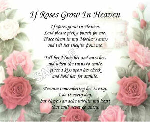 if roses grow in heaven mother s personalized art poem memory gift