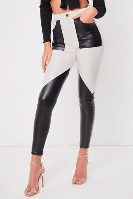Clever Womens Ladies Black And White Leather Look Pu Patch Trouser Leggings 6-14 GroßE Sorten