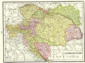 1901-Antique-AUSTRIA-Map-HUNGARY-Map-of-Bosnia-Croatia-Map-Gallery-Wall-Art-6754